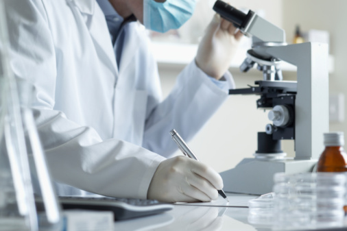 Researchers on microscope 98215185